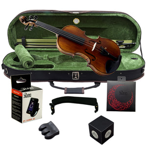 Paititi 4/4 Full Size PTVNHH100 Premium Hand Carved One-Piece Back Ebony Fitted Violin