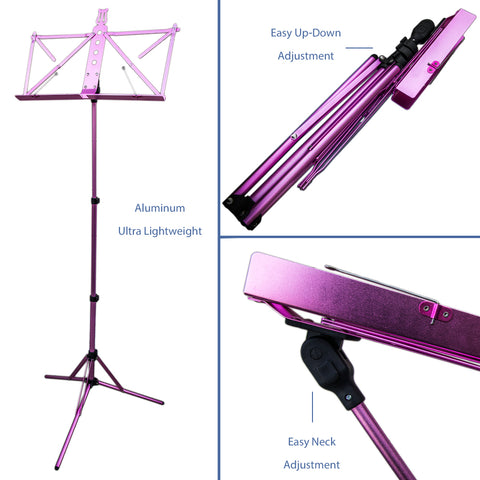 Paititi Brand New Strong Durable Adjustable Folding Music Stand Pink