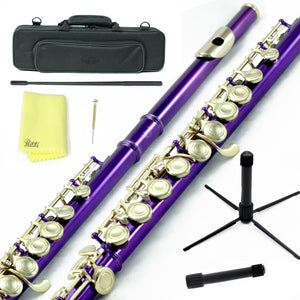 Sky C Foot Flute Purple Gold Closed Hole Band Approved