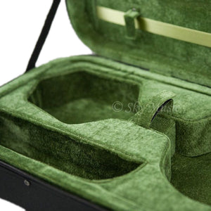 SKY QF26 Oblong Lightweight Violin Case with Hygrometer Black/Green