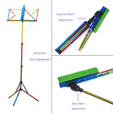 Paititi Brand New Strong Durable Adjustable Folding Music Stand Rainbow