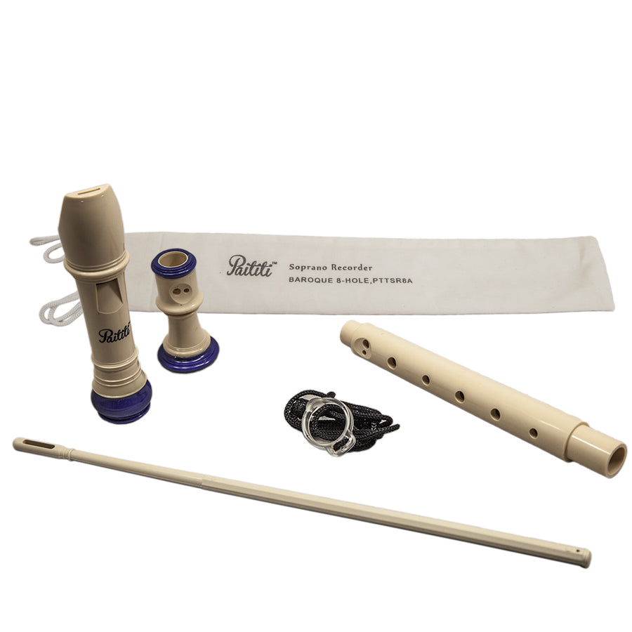Paititi Soprano Recorder 8-Hole With Cleaning Rod + Carrying Bag, Creamy/Blue Color Key of C