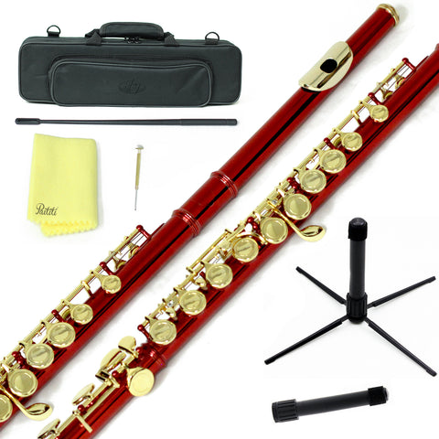 Sky C Foot Flute Wine Red Gold Closed Hole Band Approved