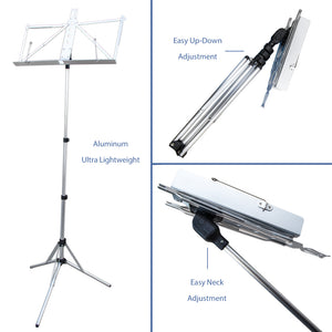Paititi Brand New Strong Durable Adjustable Folding Music Stand Silver
