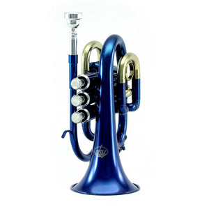 Sky Band Approved Blue Lacquer Plated Brass Bb Pocket Trumpet