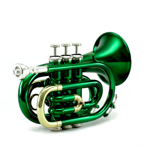 Sky Band Approved Green Lacquer Plated Brass Bb Pocket Trumpet