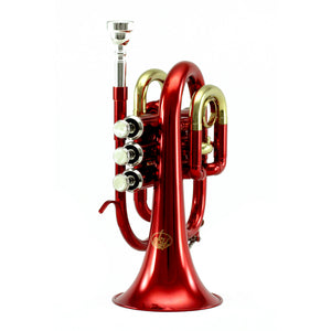 Sky Band Approved Red Lacquer Plated Brass Bb Pocket Trumpet