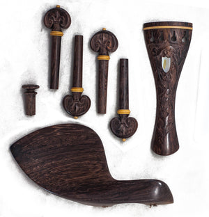 SKY Brand New 4/4 Full Size Rosewood Violin Parts Set Carved Shell Inlay 7 Pcs Dark Color