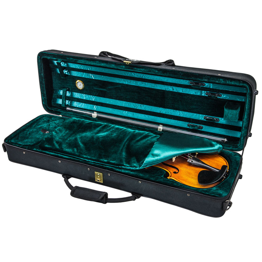 SKY SS100 Series 4/4 Violin Oblong Case with Hygrometer Black/Green