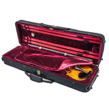 SKY SS100 Series 4/4 Violin Oblong Case with Hygrometer Black/Burgundy