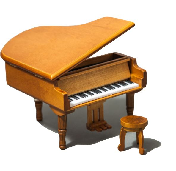 SKY Mini Cute Wood Piano Music Box with Delicate Bench Castle in the Sky Song
