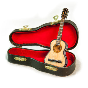 Sky Mini Guitar Classic Natural Finish Acoustic Miniature Guitar with Display Stand Case 4 Inches