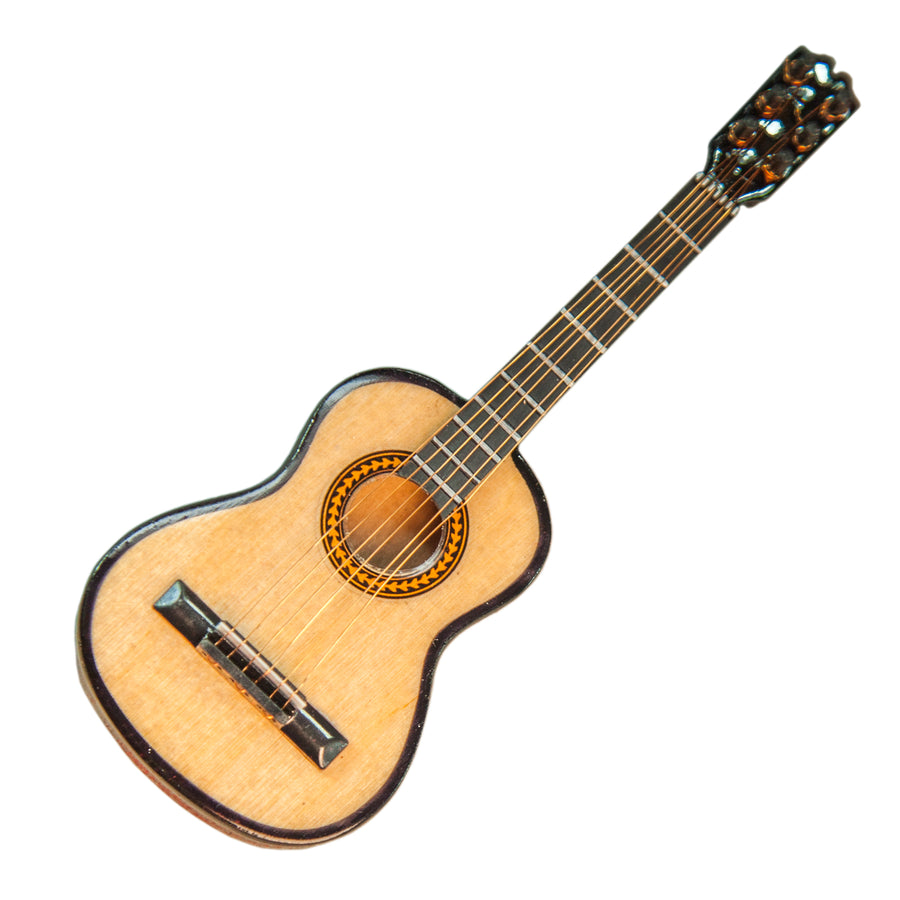 Sky Mini Guitar Classic Natural Finish Acoustic Miniature Guitar with Display Stand Case 5 Inches
