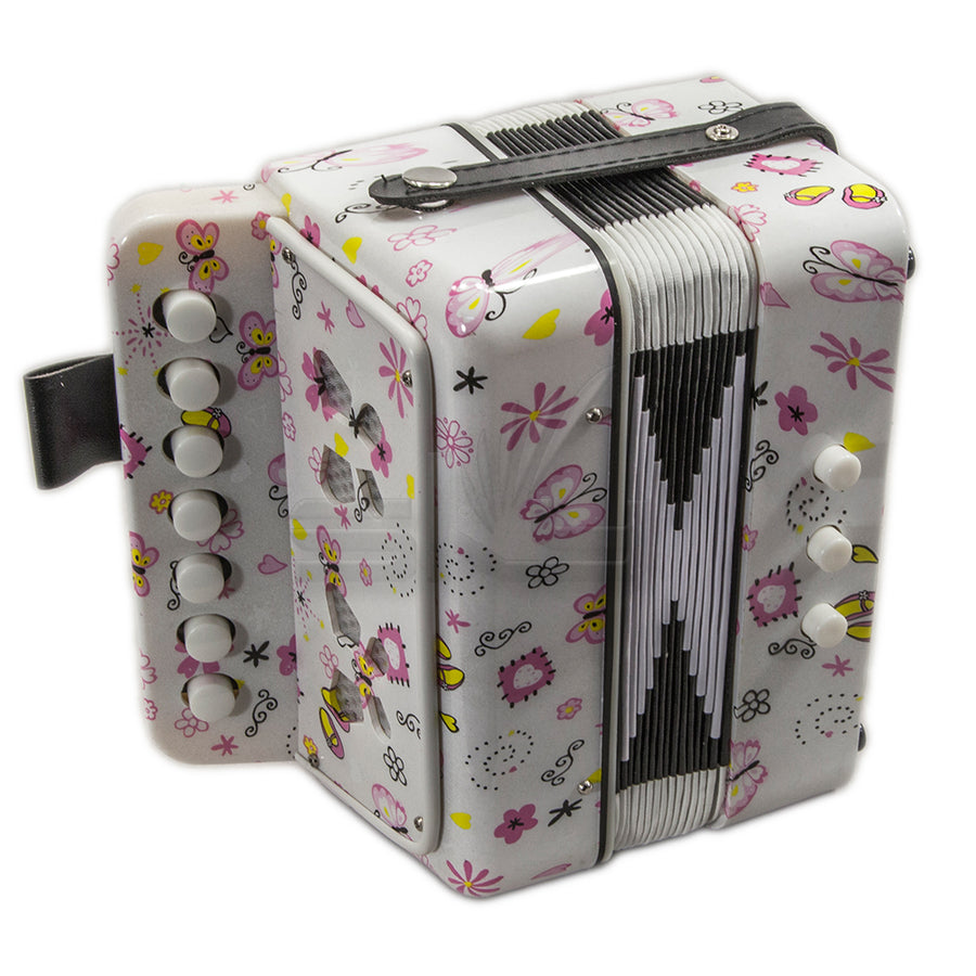 SKY Accordion Butterfly Pattern 7 Button 2 Bass Kid Music Instrument