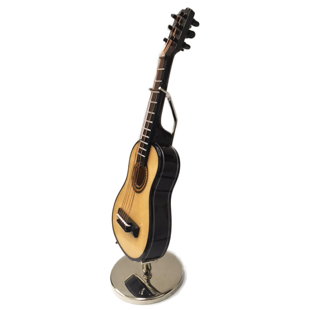 Sky Mini Guitar Classic Natural Finish Acoustic Miniature 4 Inches Guitar with Display Stand Case Great Gift