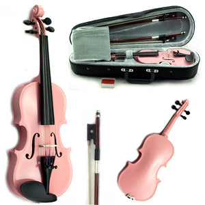 SKY Solid Wood 1/10 - 1/16 Size Kid Violin with Lightweight Case, Brazilwood Bow