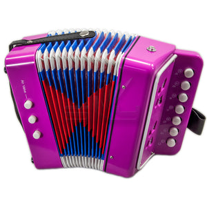 SKY Accordion Hot Pink Color 7 Button 2 Bass Kid Music Instrument