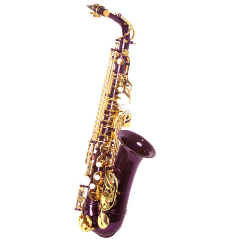 Sky E Flat Lacquer Alto Saxophone with F# Key, Case and 10 Reeds, Purple