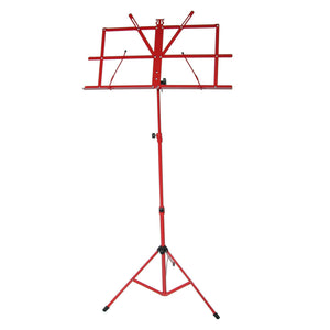 Sky Lightweight Adjustable Folding Music Stand with Carrying Bag Red