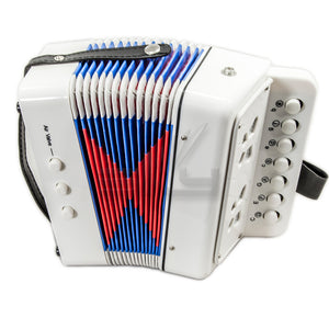 SKY Accordion Pure White Color 7 Button 2 Bass Kid Music Instrument