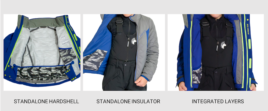 SHRED DOG standalone and integrated kids winter jacket examples