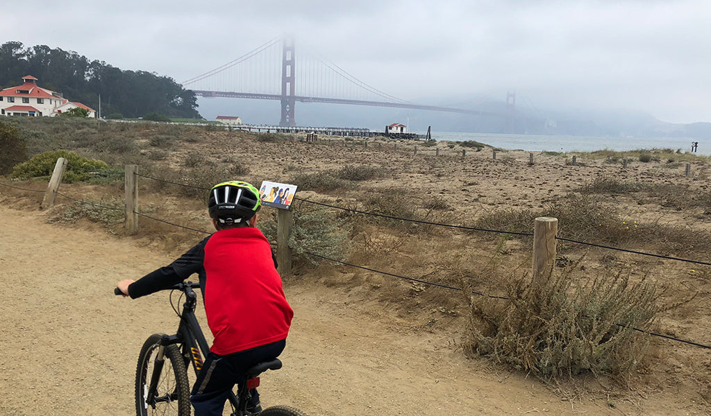 Biking Crissy Field near Golden Gate Bridge