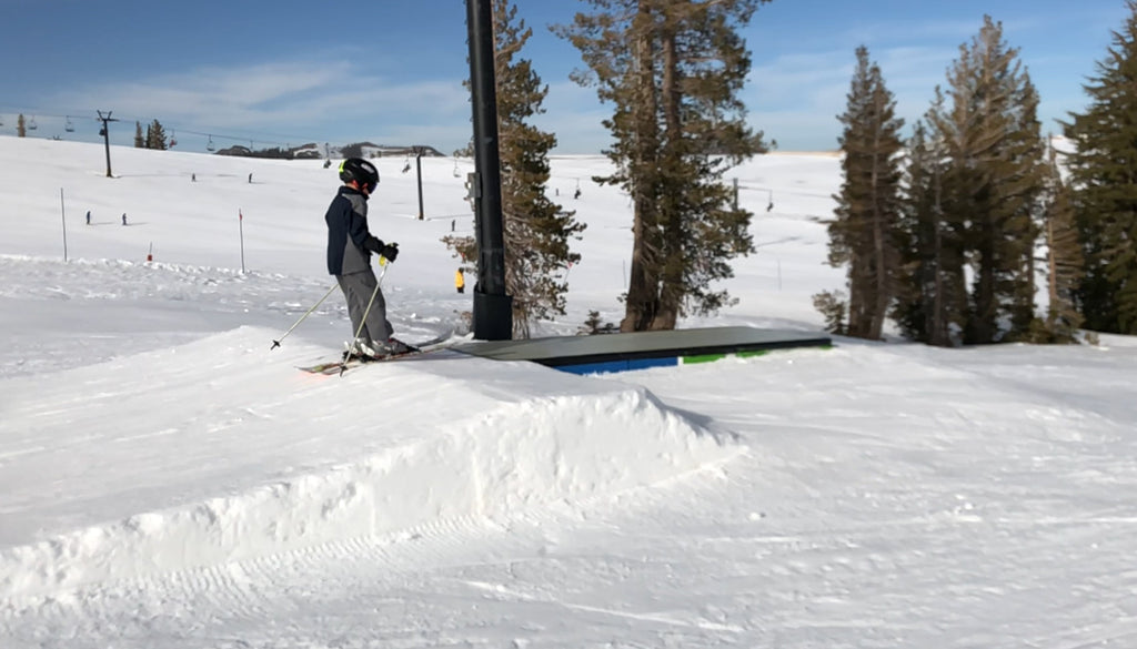 boy skiing terrain park at squaw valley