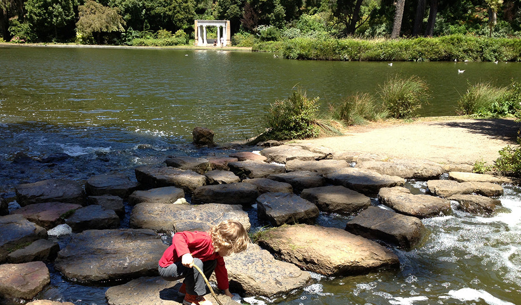 Boy playing in pond at golden gate park