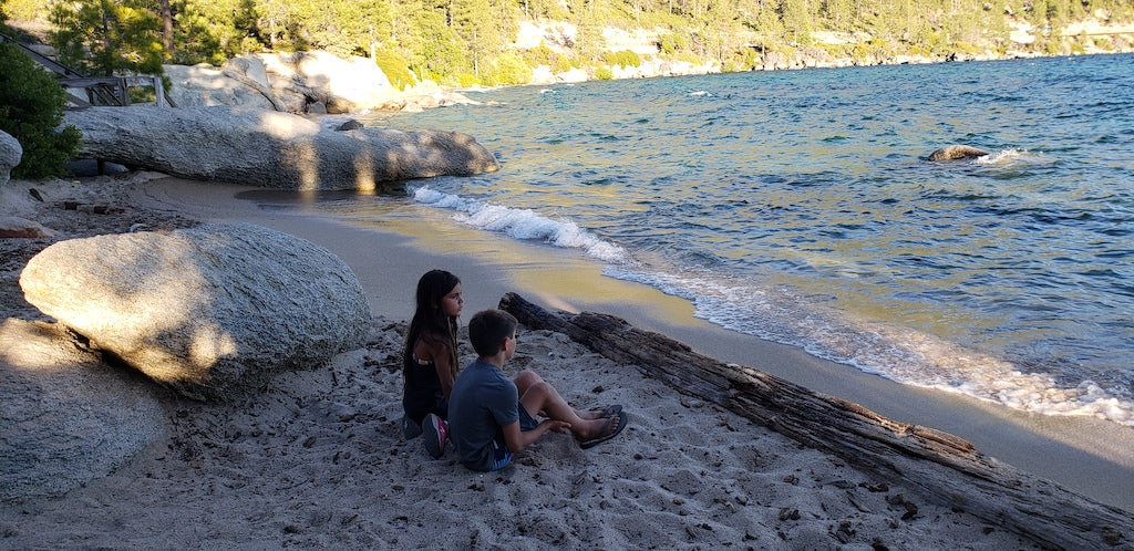 kids on beach in lake tahoe