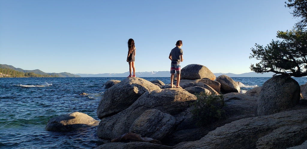 kids on rocks in lake tahoe