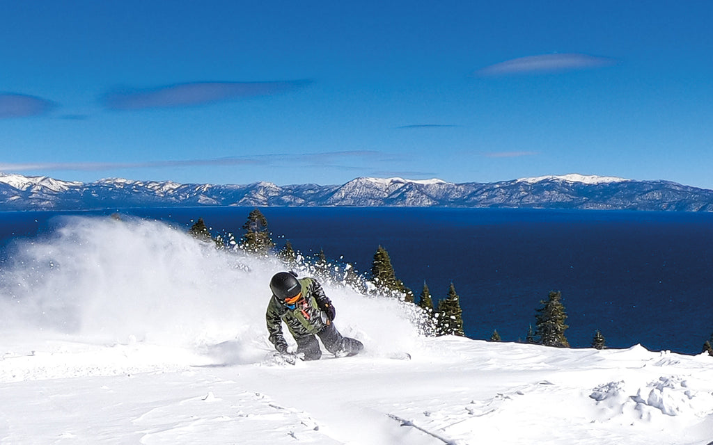spring snowboarding kid in lake tahoe