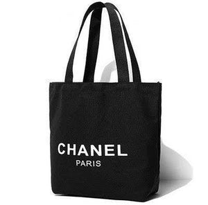 21c5301b6364 Chanel Black Canvas Shopping Tote Bag White Logo Makeup Organiser VIP GIFT  - PARTYMOOD