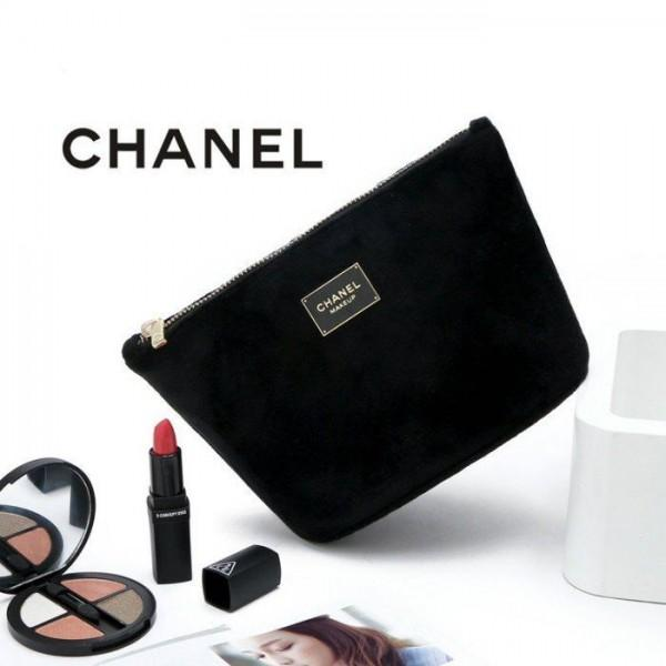 cea60a063ec53a ... CHANEL Black Velvet Makeup Bag with Gold Chain Cosmetic Pouch VIP Gift  - PARTYMOOD ...