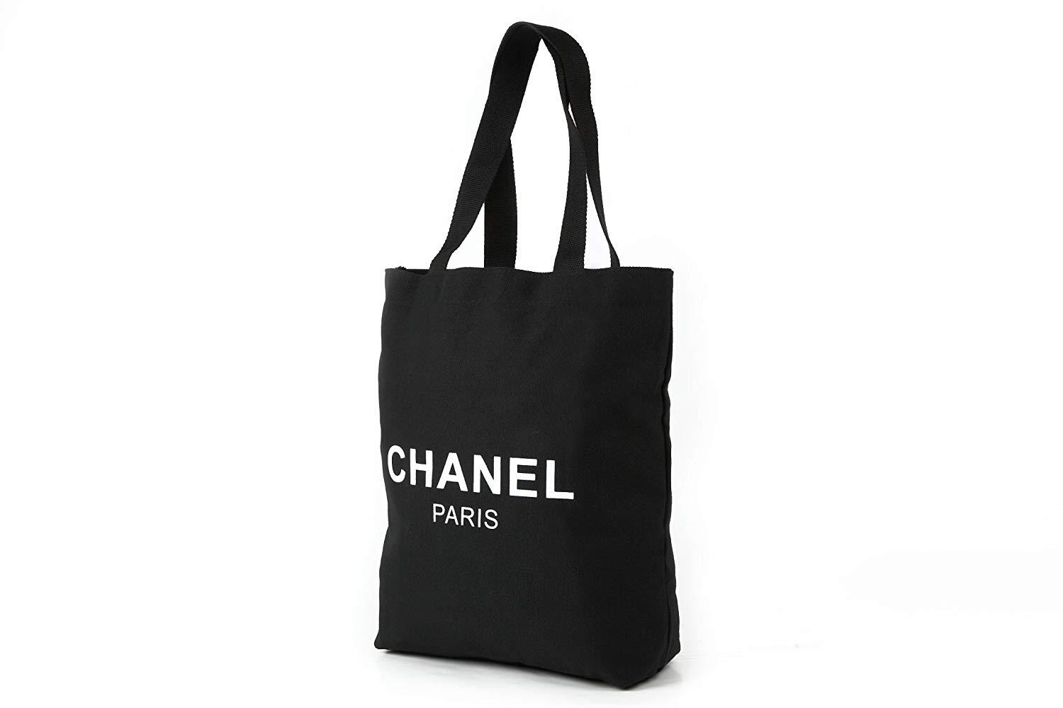 b58525a41bf2 ... Chanel Black Canvas Shopping Tote Bag White Logo Makeup Organiser VIP  GIFT - PARTYMOOD ...