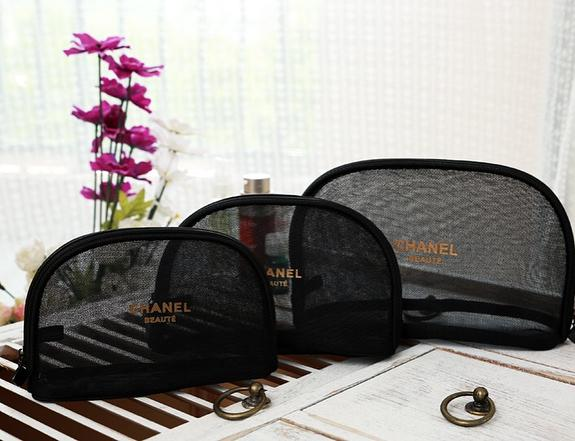36bf5554b846 ... 3pcs set CHANEL Beaute Black Mesh Makeup Bags Cosmetic Pouches VIP Gift  - PARTYMOOD ...