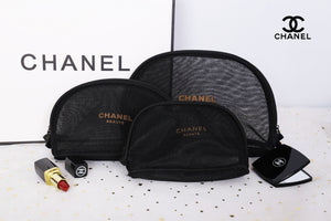 72f147747094e6 3pcs set CHANEL Beaute Black Mesh Makeup Bags Cosmetic Pouches VIP Gift -  PARTYMOOD