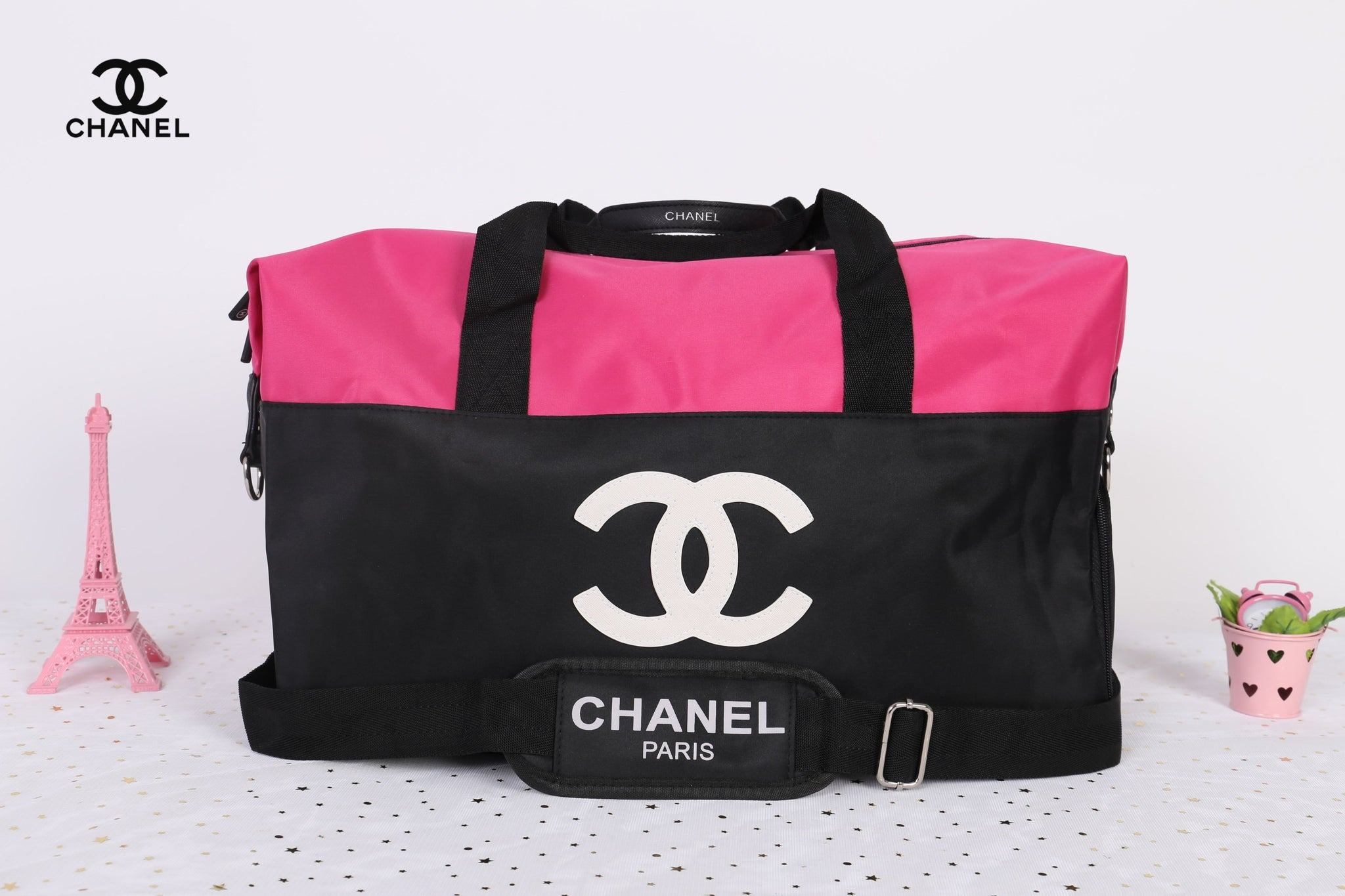ed9dad88bc7d32 ... Chanel Pink White CC Logo Travel Gym Duffle Weekend Bag Large Vip Gift  - PARTYMOOD ...