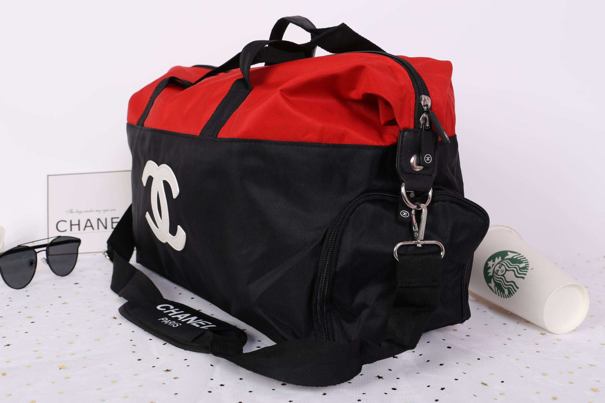 8148833891a51f ... Chanel Red White CC Logo Travel Gym Duffle Weekend Bag Large Vip Gift -  PARTYMOOD ...
