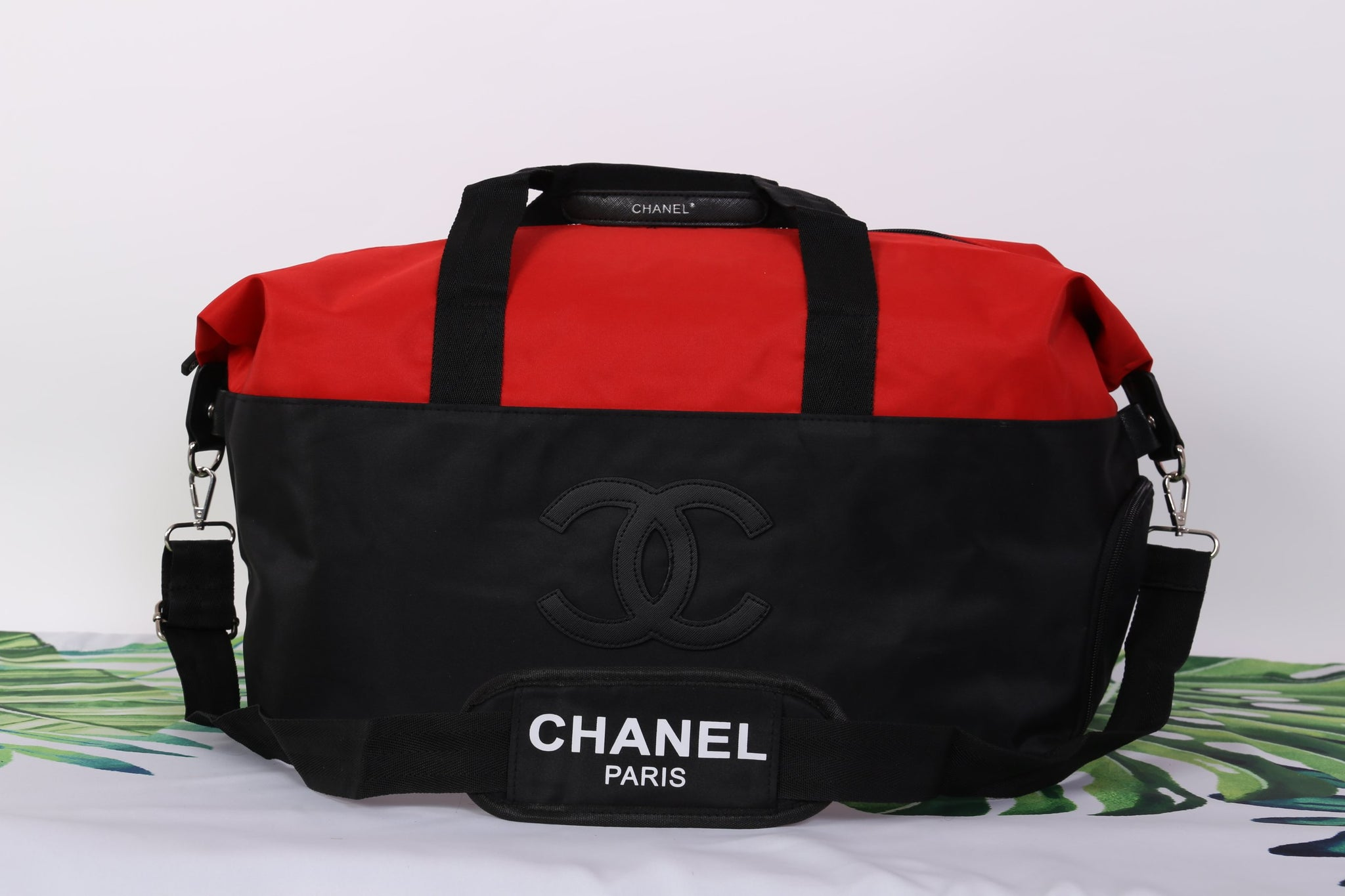 8fa6744a397a ... Chanel Red Black CC Logo Travel Gym Duffle Weekend Bag Large Vip Gift -  PARTYMOOD ...