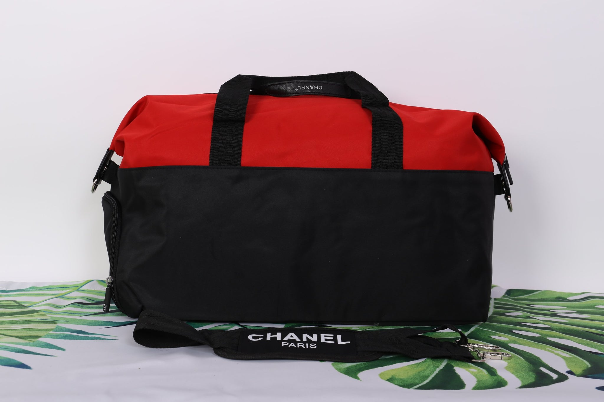 7dce5f6502ea ... Chanel Red Black CC Logo Travel Gym Duffle Weekend Bag Large Vip Gift -  PARTYMOOD ...