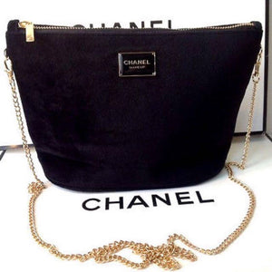 5beaad2ddefc CHANEL Black Velvet Makeup Bag with Gold Chain Cosmetic Pouch VIP Gift -  PARTYMOOD