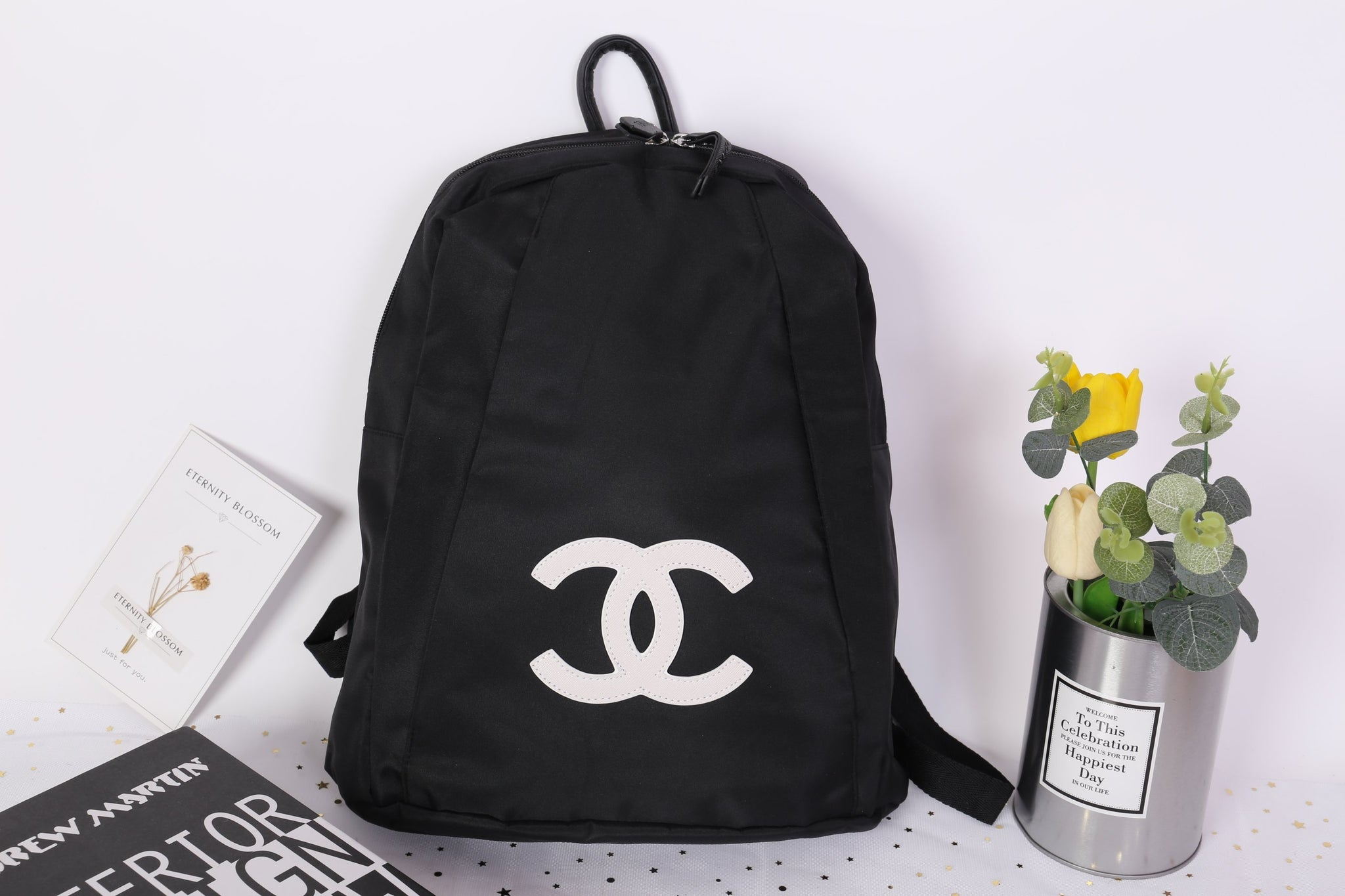 a29c95072109 ... Chanel White CC Logo Backpack Makeup Rucksack Travel Gym Duffle Bag  Large Vip Gift - PARTYMOOD ...