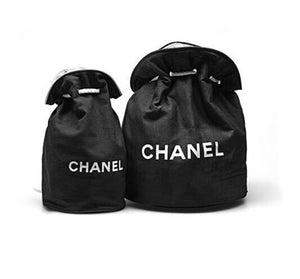 0835cd62933c Set of 2 Chanel Canvas Bucket Makeup Travel Gym Duffle Bags Small and Large  Vip Gift