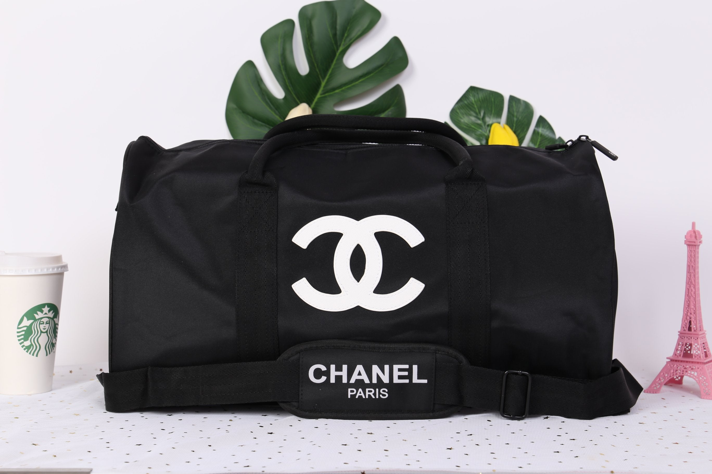 df2b92298015 Someone in Frankfurt, Germany just bought. Chanel White CC Logo Travel Gym  Duffle Weekend Bag Large Vip Gift. 2 months ago
