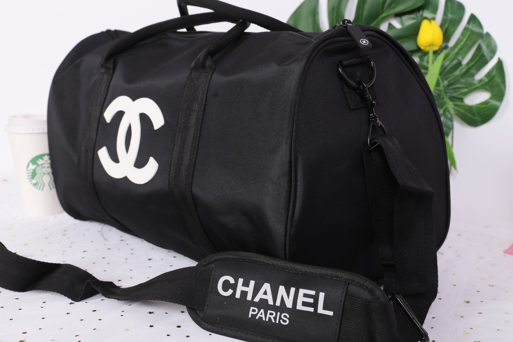 b57d51d994c4 ... Chanel White CC Logo Travel Gym Duffle Weekend Bag Large Vip Gift -  PARTYMOOD ...