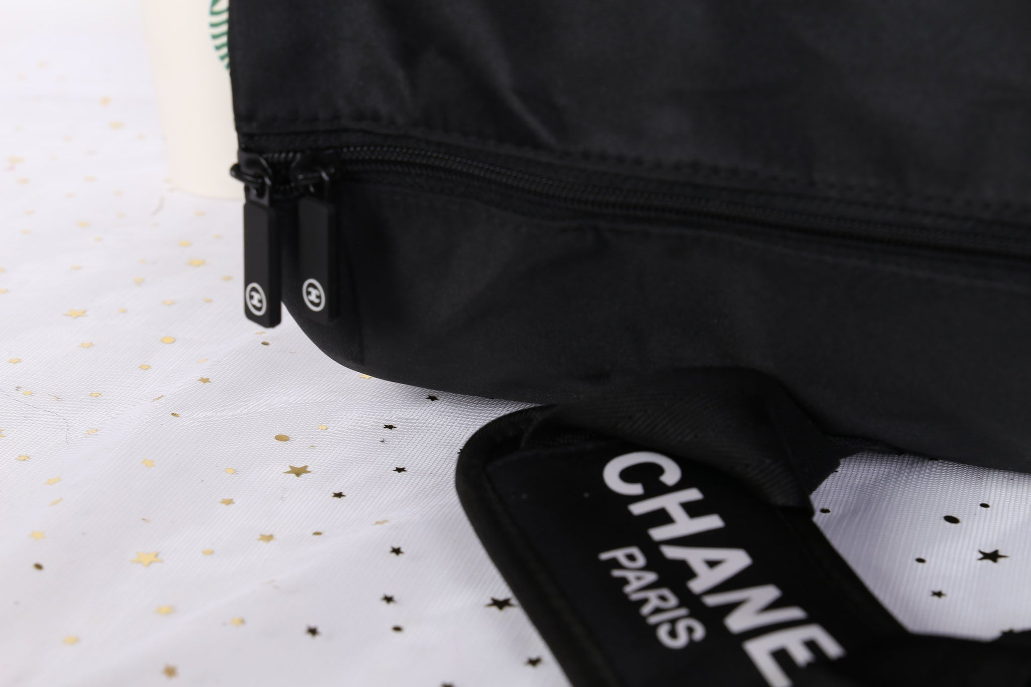 594a86afd10930 ... Chanel Black CC Logo Travel Gym Duffle Weekend Bag Large Vip Gift -  PARTYMOOD ...