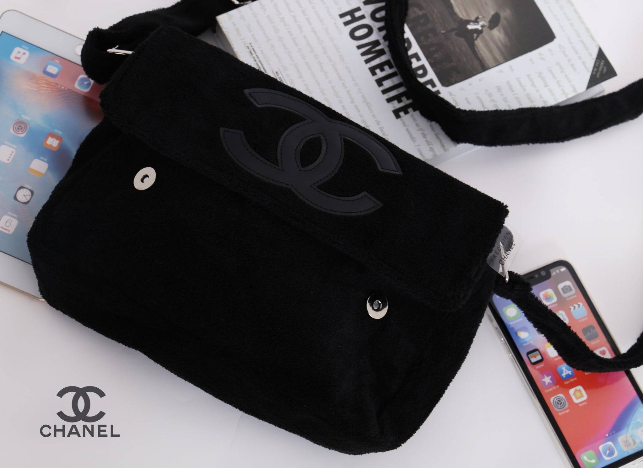 d01747ceafe36c ... CHANEL Precision CC Black Logo Velour Teddy Plush Bag VIP Gift Shoulder  Pouch Large - PARTYMOOD ...