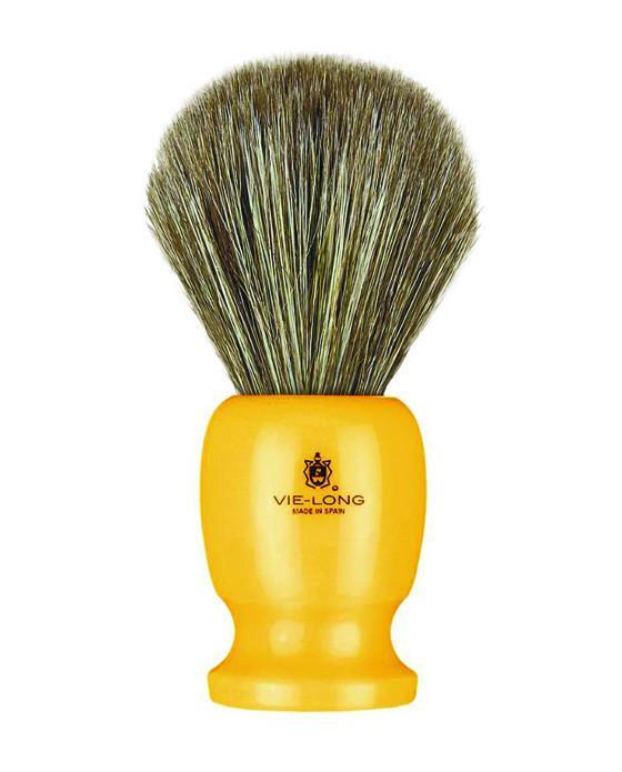Vie-Long Shaving Brush, Brown Horse Hair Acrylic, Bright Orange