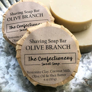 The Confectionery - Olive Branch -  Shaving Soap with Coconut Milk & Bentonite Clay - Alonzo's Oil