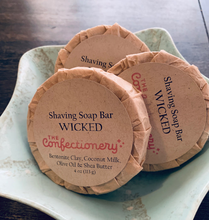 The Confectionery-WICKED- Shaving Soap with Coconut Milk & Bentonite Clay